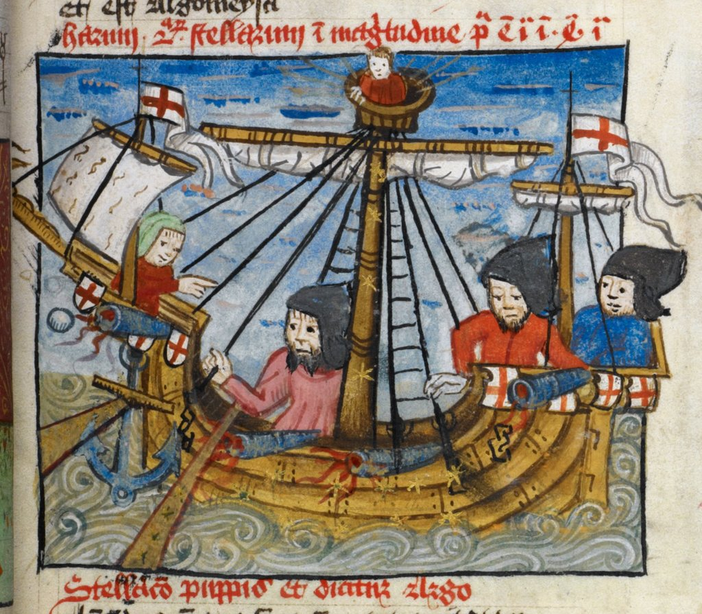 Ship at sea from BL Arundel 66, f. 45