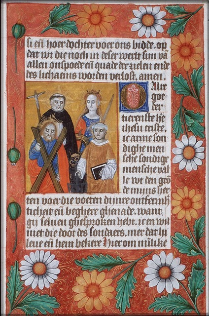 St. Dominic of Calerueja holding a crucifix, the devil at his feet, St. Catherine of Alexandria holding a wheel and a sword, St. Andrew holding the X-shaped cross and St. Laurence of Rome holding a gridiron and a book