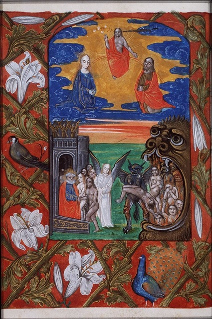 The Last Judgement: Christ on a rainbow with Mary and St. John, St. Peter receives the blessed in heaven, represented as a castle with trumpeting angels, represented as a castle with trumpeting angels, the damned are thrown into hell, the damned thrown into hell
