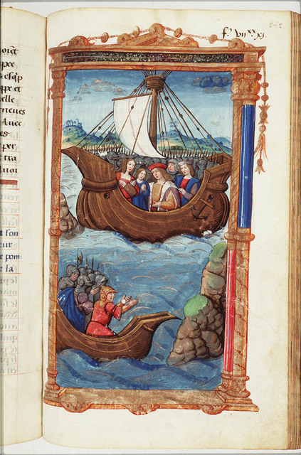 Cornelia with her company mourning Pompey and weighing anchor to flee; the body of Pompey has been thrown out of the other boat after his head had been cut off