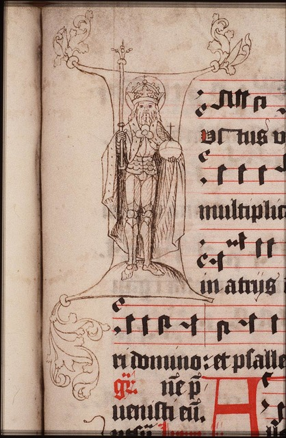 Emperor Henry II holding a staff and an orb