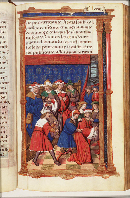 Lucius Scipio being dragged to prison after being judged guilty of corruption by the tribunal of Terentius Culeo