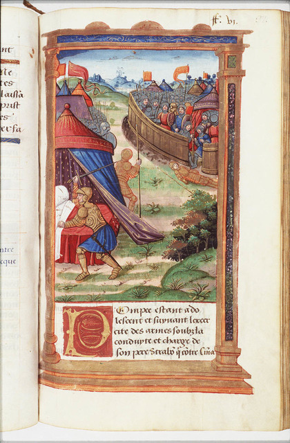 Lucius Terentius, approaches the bed with drawn sword to kill his tentmate Pompey, during the war between Pompey's father and Cinna; Pompey, who had been informed of the plot had left the tent