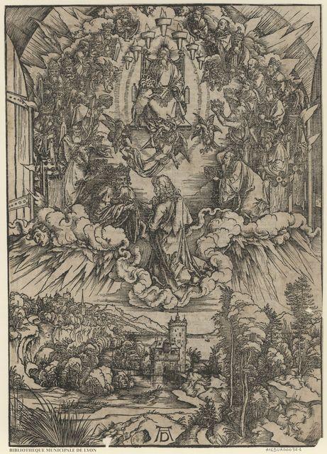 Saint Jean engagé à monter au ciel où il voit un trône dressé, et quelqu'un assis sur ce trône
