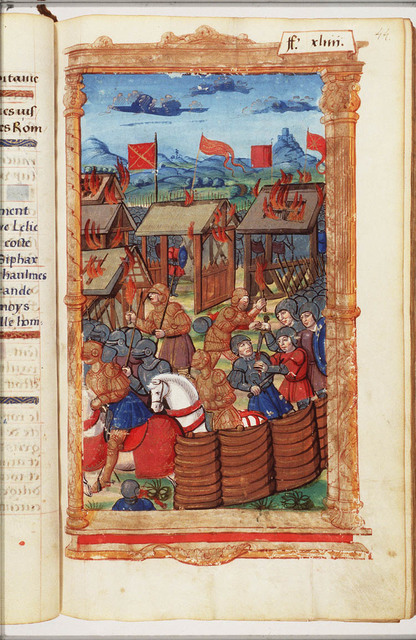 Scipio's soldiers, commanded by Masinissa and Laelius, invade and set fire to the wooden and thatched huts in the camp of Syphax's Numidians