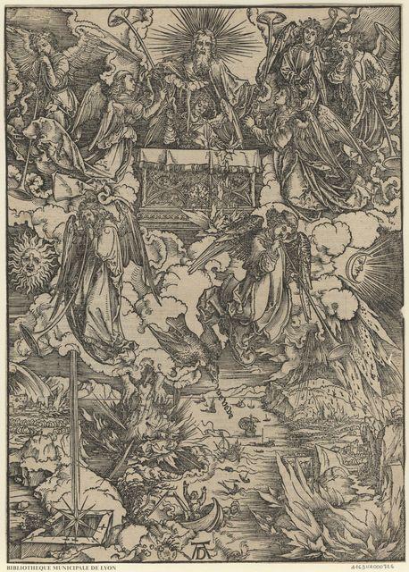 Sept anges avec des trompettes