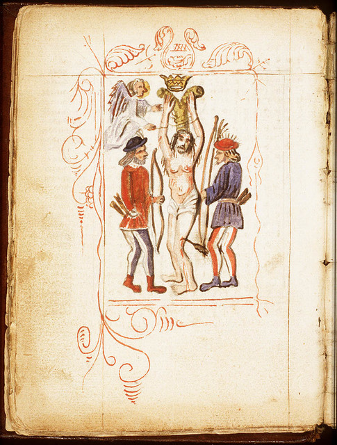 The martyrdom of St. Sebastian: an angel unties him from the tree in the presence of two bowmen