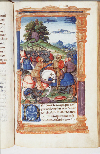 Three generals, Carinas, Cloelius and Brutus, with three armies surrounding Pompey to annihilate him: Pompey collects all his forces to attack the army of Brutus; when he brought down one of the Celtic horsemen of that army, the rest fled