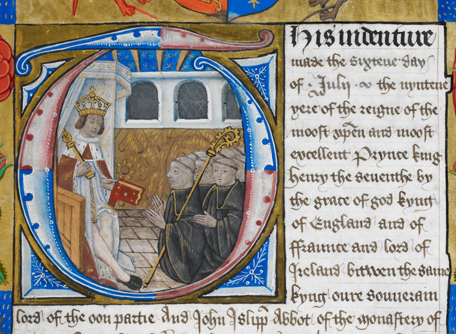 Henry VII from BL Harley 1498, f. 98