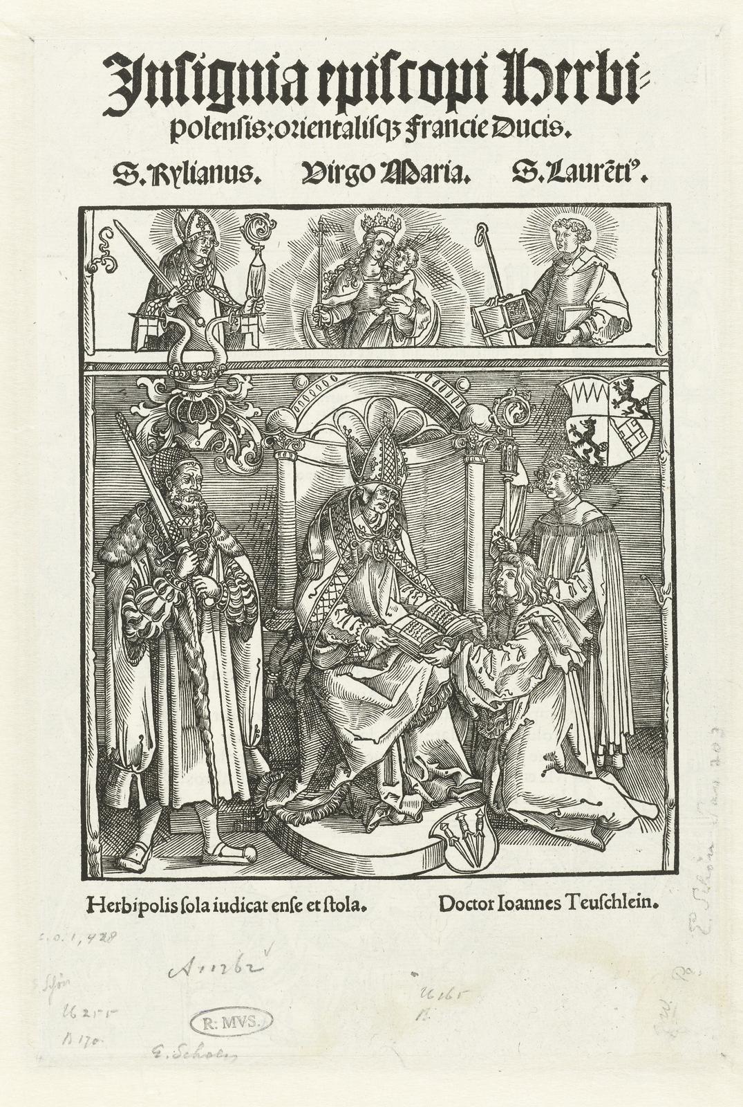 Titelblad met Johannes Teuschlein die zijn boek presenteert aan de bisschop van Würzburg
