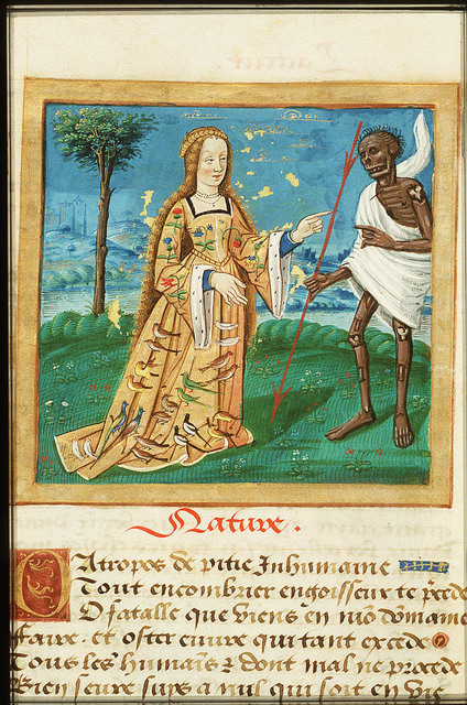 Nature as a young woman and Death holding a spear