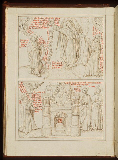 St. John and the angel with the little open book in his hands; a voice from heaven orders St. John to seal the words of the seven Thunders (represented as heads) (1st of 2)
