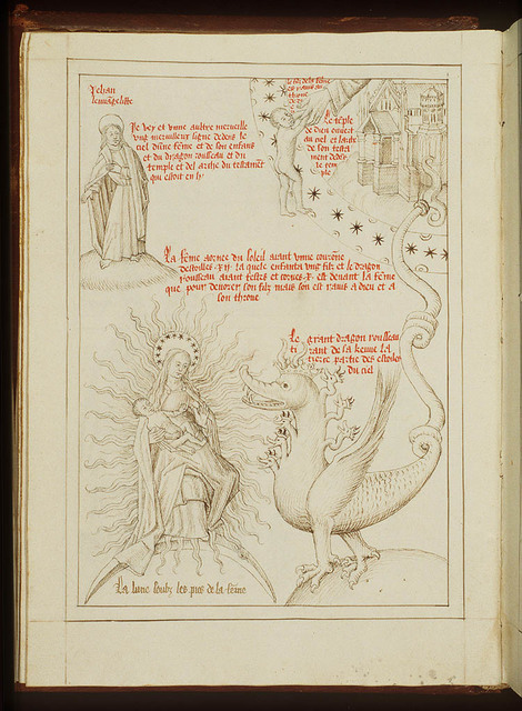 The dragon with the seven heads and the Woman; The Child carried away to the throne of God; St. John