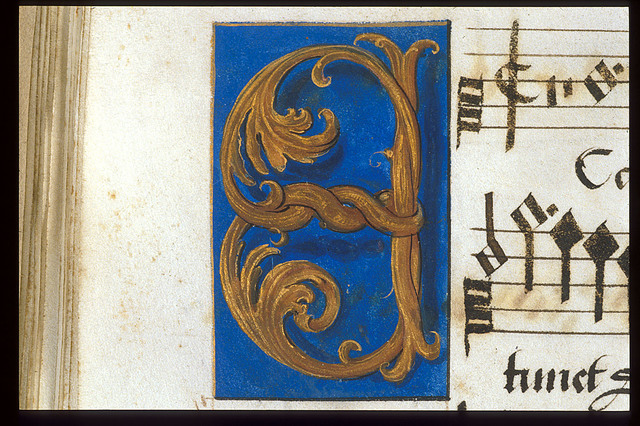 Illuminated initial from BL Royal 11 E XI, f. 16v