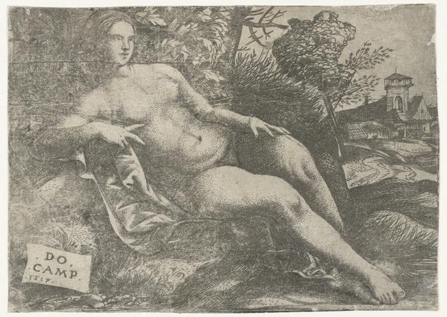 Liggende Venus in landschap