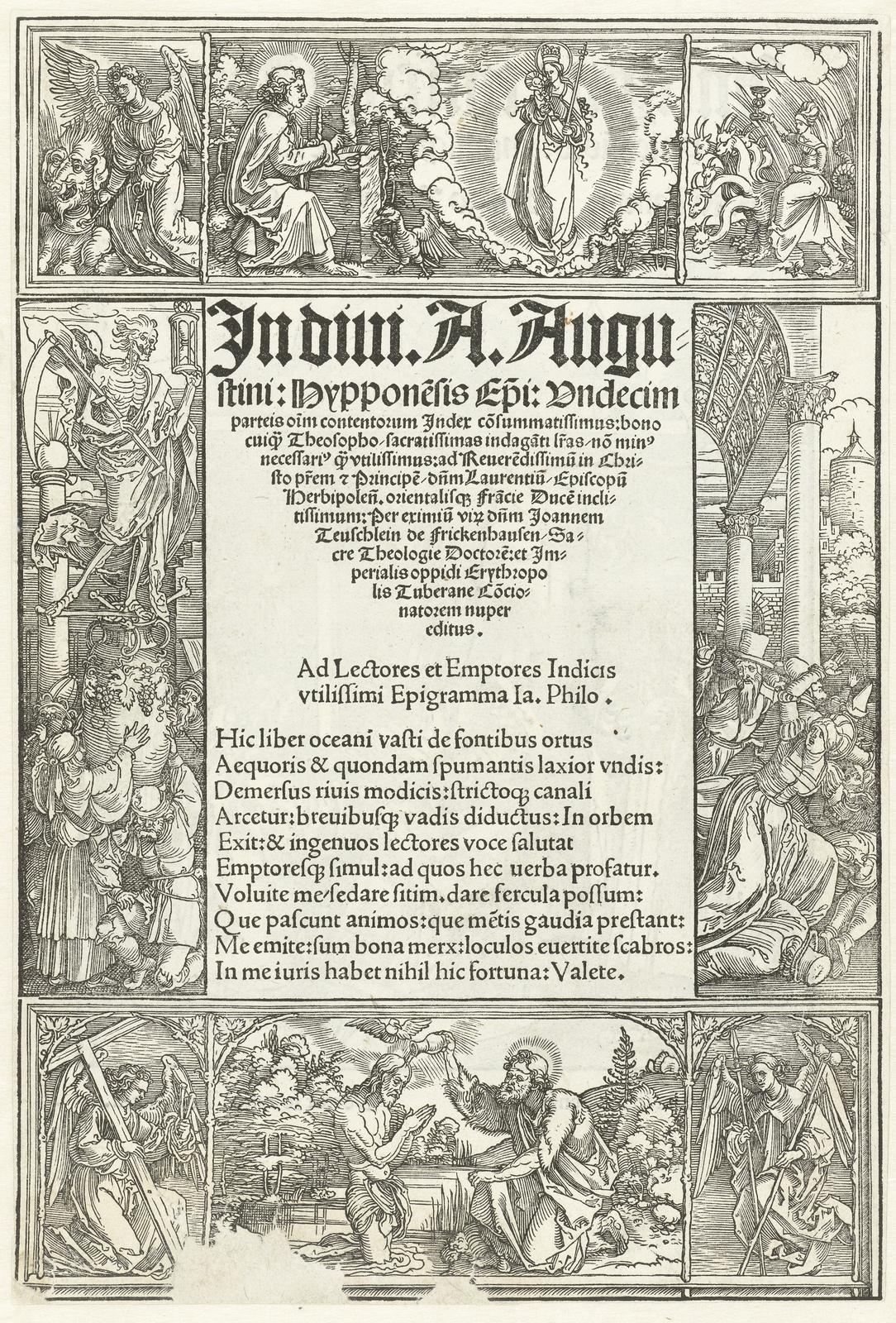 Titelblad met o.a. de doop van Christus en een visioen van Johannes de Evangelist