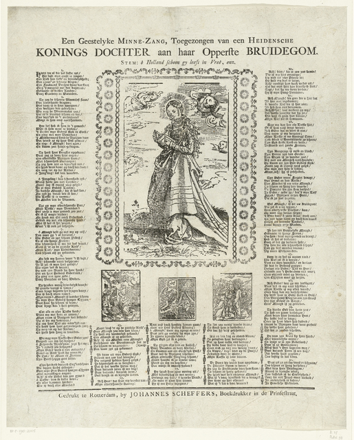 Pamflet met Catharina van Alexandrië en tekst