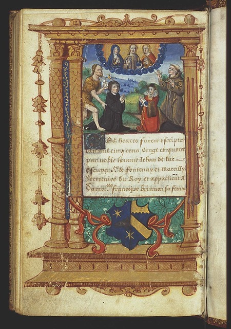 Coat of arms and device of Jehan de Luc and Françoise Brinnon: 'out of the strong came forth sweetness' (Judges 14:14)