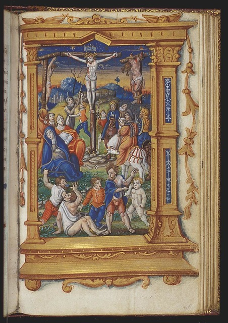 The Crucifixion, with Mary, St. John, St. Mary Magdalene, the two malefactors, Longinus piercing Christ's side with a lance, the confessing centurion and soldiers; quarelling over Christ's seamless garment(?)