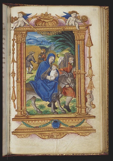 The Flight into Egypt: Mary, St. Joseph and the Christ-child on their way; the legend of the quick-growing corn: soldiers questioning the farmer, who is cutting the ripe wheat (background)