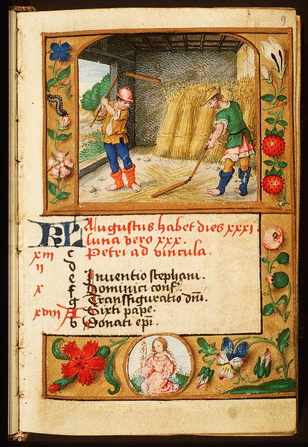 August: men threshing