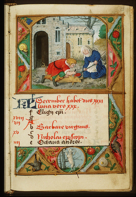 December: a man and a woman slaughtering a pig