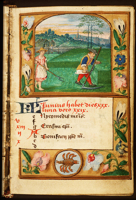 June: a man and woman making hay