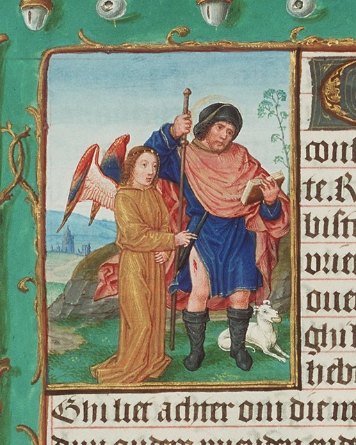 St. Roch of Montpellier holding a staff and a book; a dog with a loaf in its mouth, and an angel healing the plague-spot on his thigh