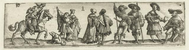 Fries met mannen, vrouwen en soldaten