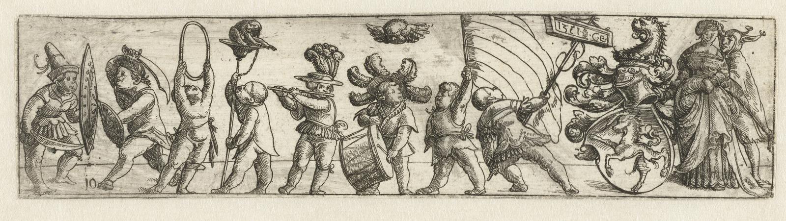 Fries met putti en wapenschild