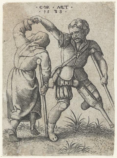 Dansende soldaat en vrouw