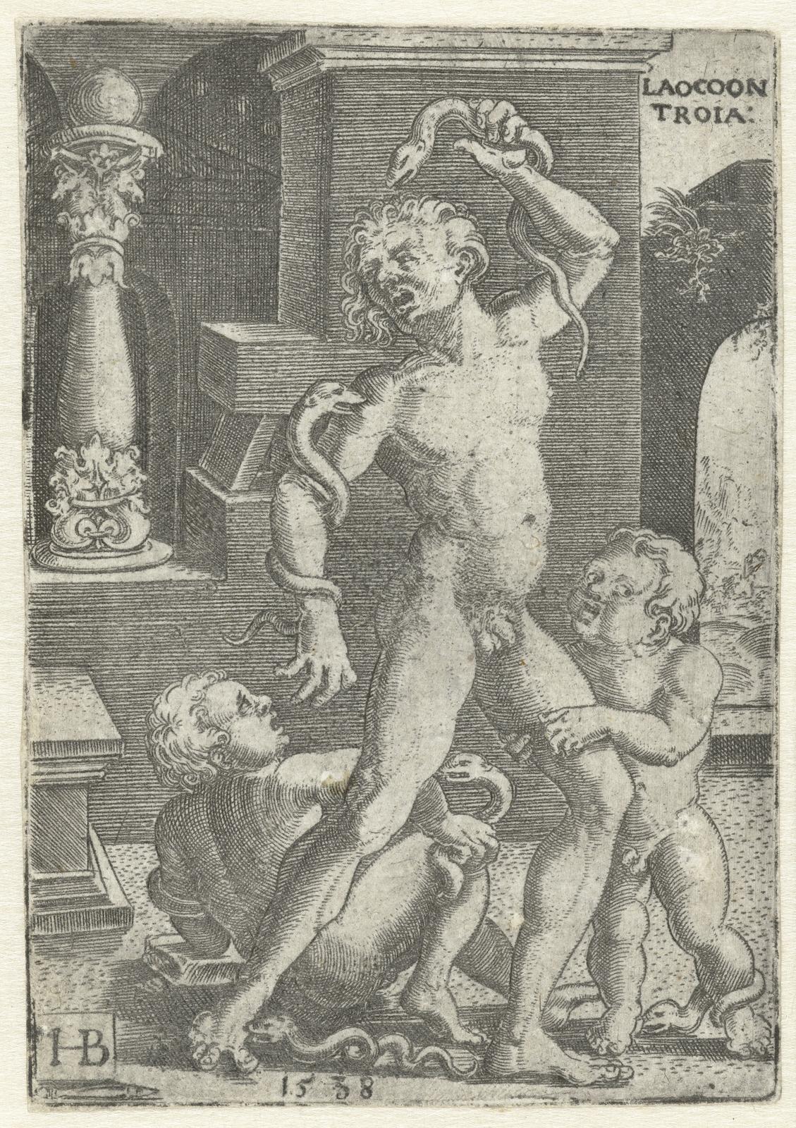 Laocoön en zijn twee zonen gedood door slangen