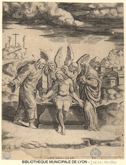Christ mort entre la Vierge et saint Jean, soutenu par des anges