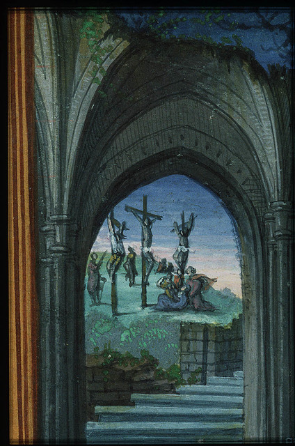 Jean Lallemant le Jeune looking at the Crucifixion with Mary, St. John, the two malefactors and soldiers