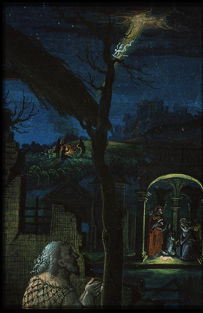 Jean Lallemant le Jeune looking at the Nativity; annunciation of Christ's birth to the shepherds (background)
