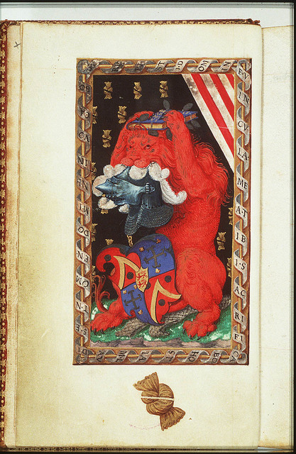Lion holding a book, a helmet and the coat of arms of Jean Lallemant le Jeune
