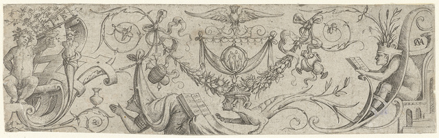 Ornament met Bacchus en een knielende vrouw