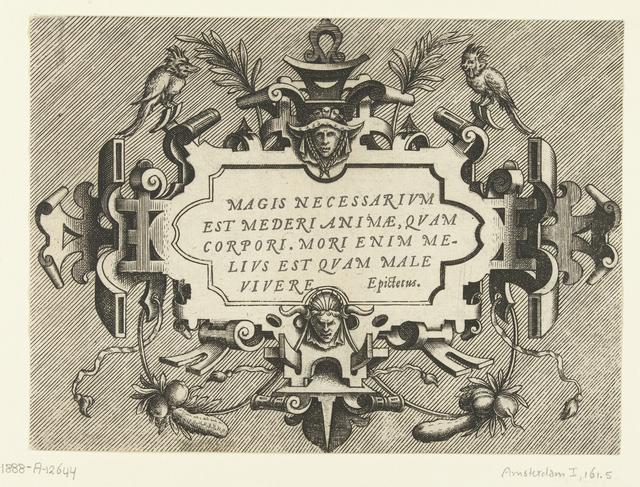 Cartouche met een citaat van Epictetus