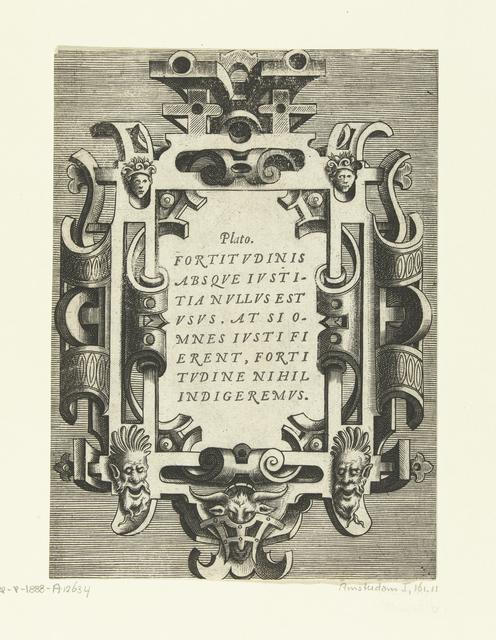 Cartouche met een citaat van Plato