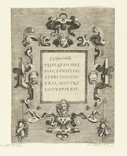 Cartouche met een citaat van Sallustius