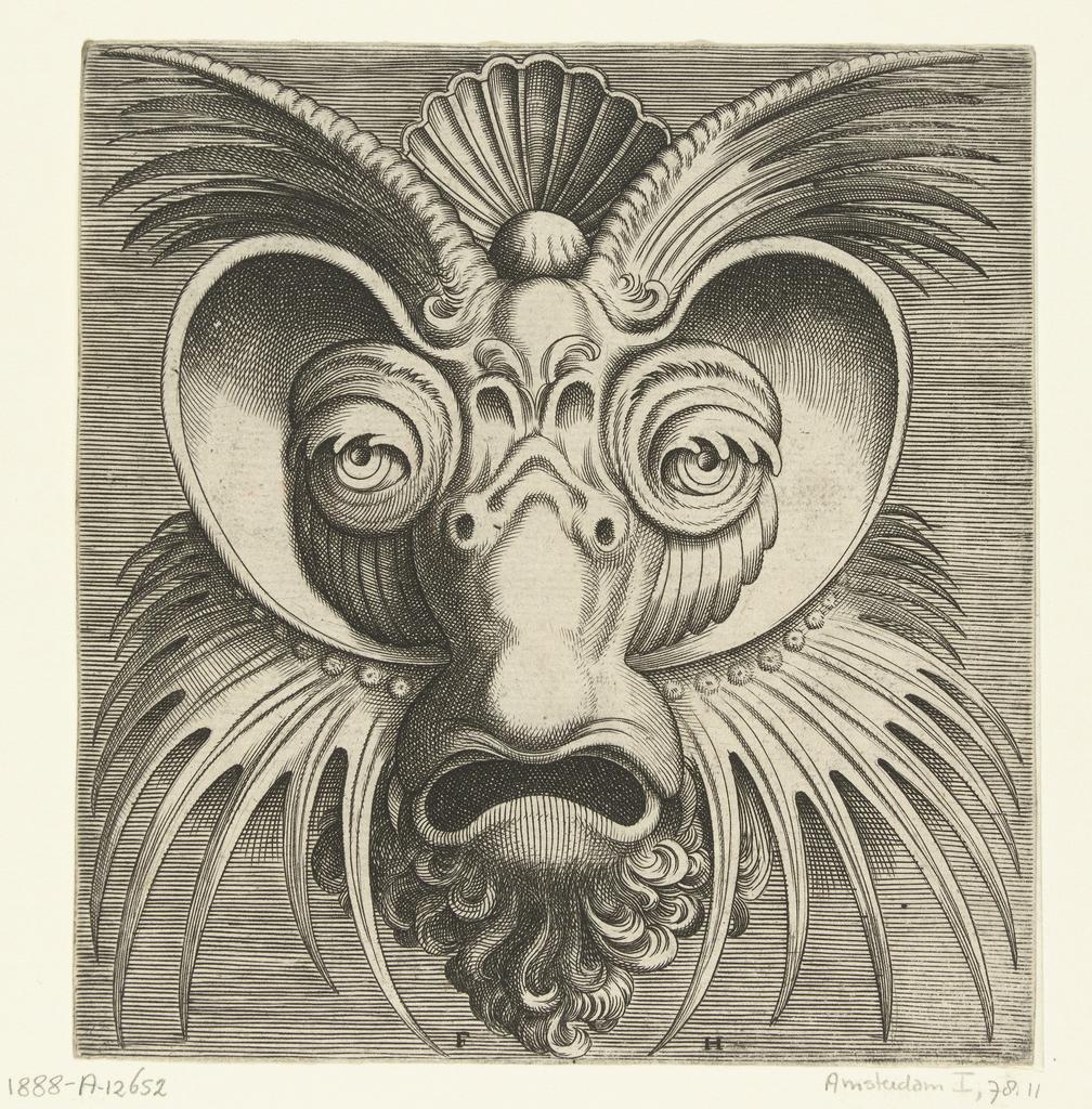 Masker met schotels rond de ogen en spits getande kuiven op de wangen en het voorhoofd