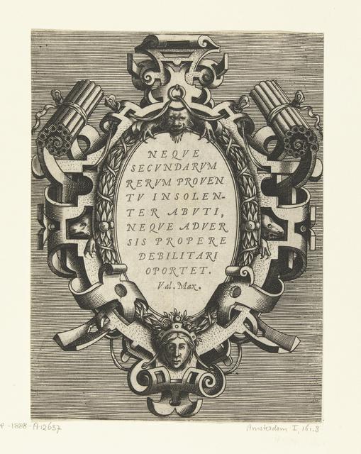 Ovale cartouche met een citaat van Valerius Maximus