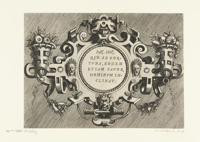 Ronde cartouche met een citaat van Justinus