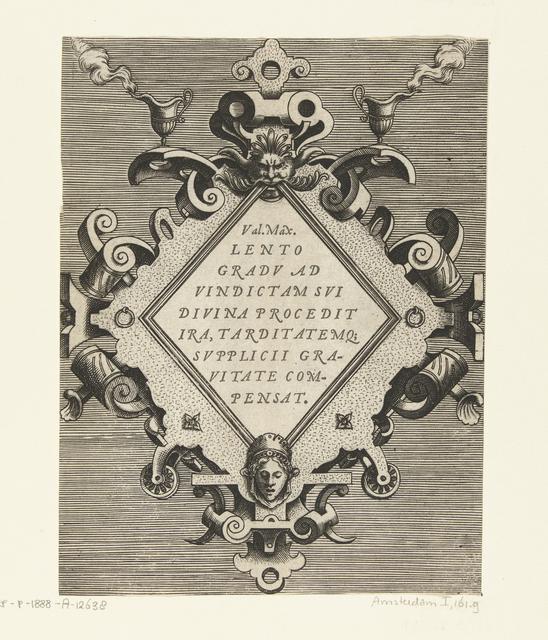 Ruitvormige cartouche met een citaat van Valerius Maximus