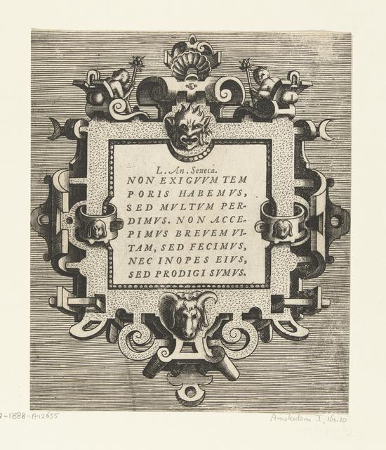 Vierkante cartouche met een citaat van Seneca