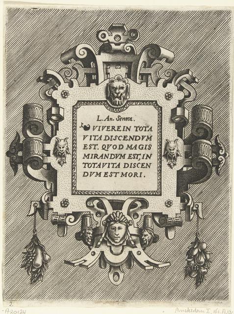 Cartouche met een citaat van Seneca