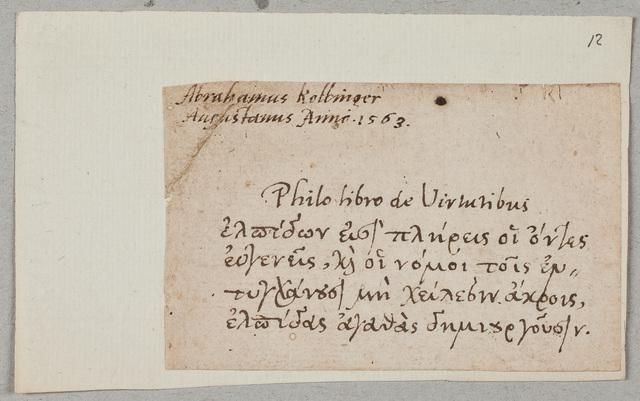 Albuminscriptie / van Abrahamus Kolbinger, voor N.N