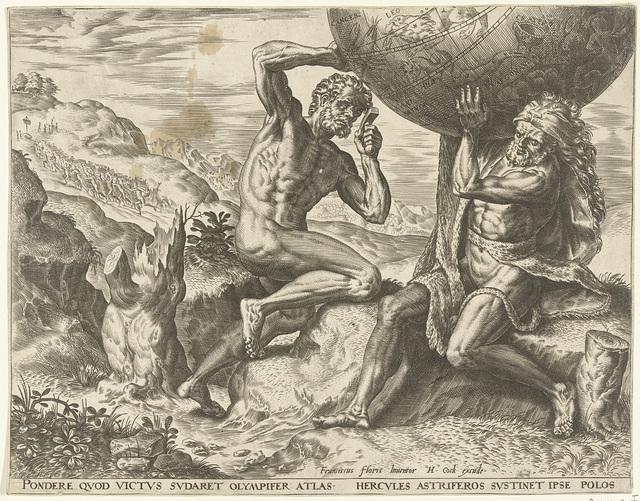 Hercules torst de wereldbol voor Atlas