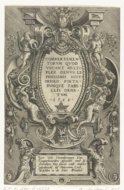 Titelblad, ovale cartouche ondersteund door twee saters