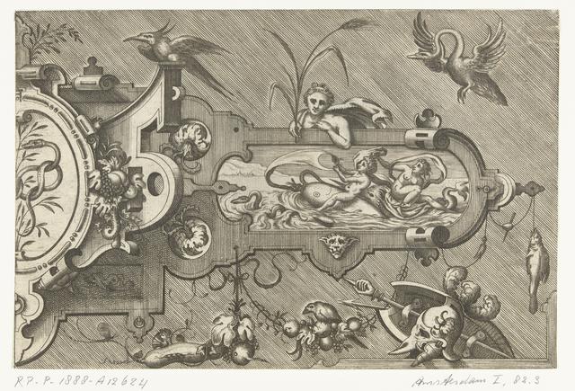 Rechterhelft van een grote cartouche, met links een slang